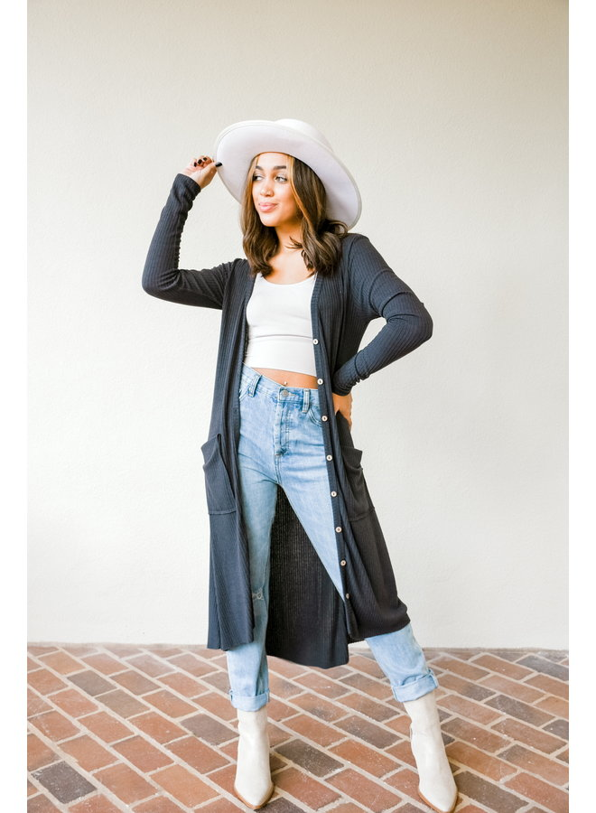 Head To Toe Button Cardigan - Charcoal