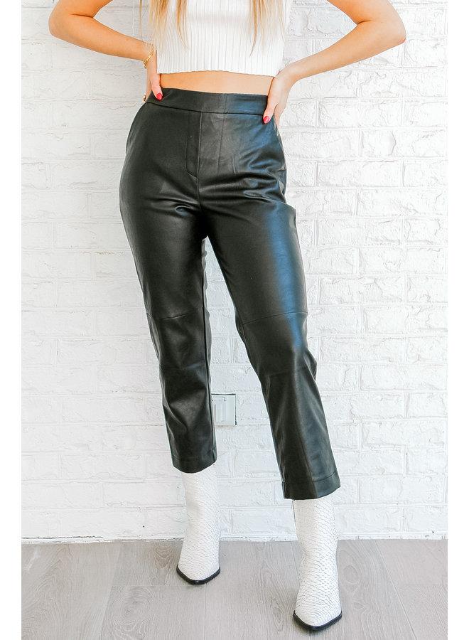 Straight Leg Leather Pants