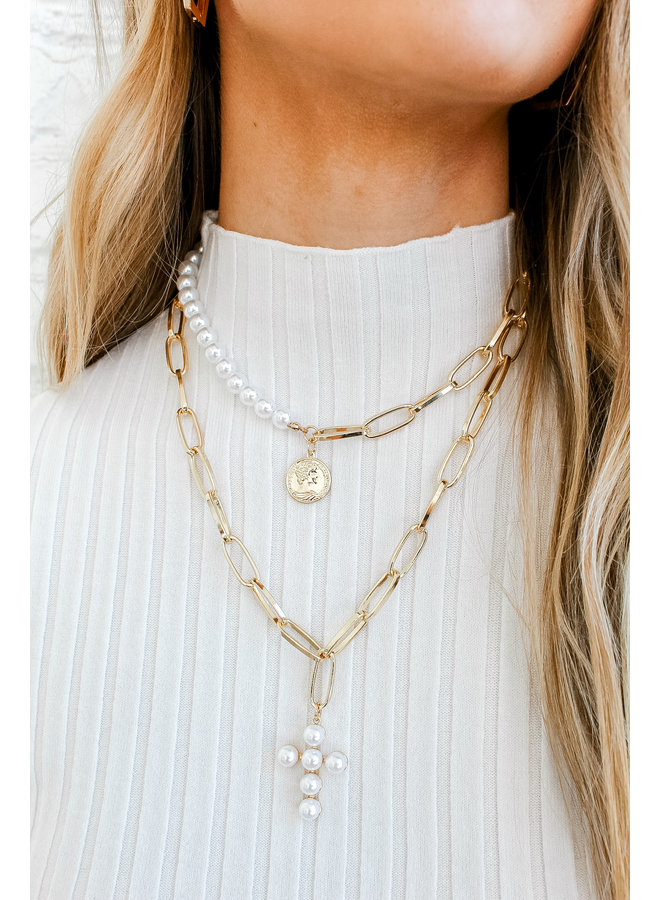 Holy Pearl Necklace Stack