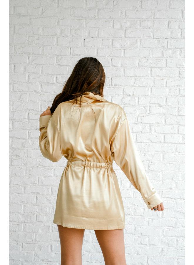 Luxe Gold Tie Dress