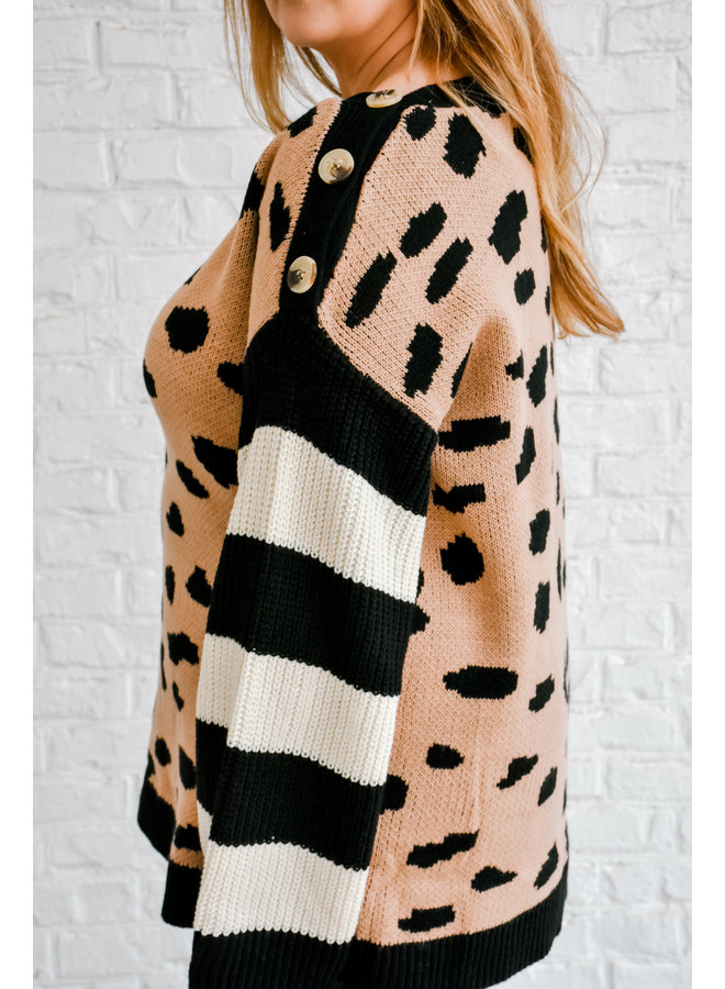 Mix Up Button Sweater