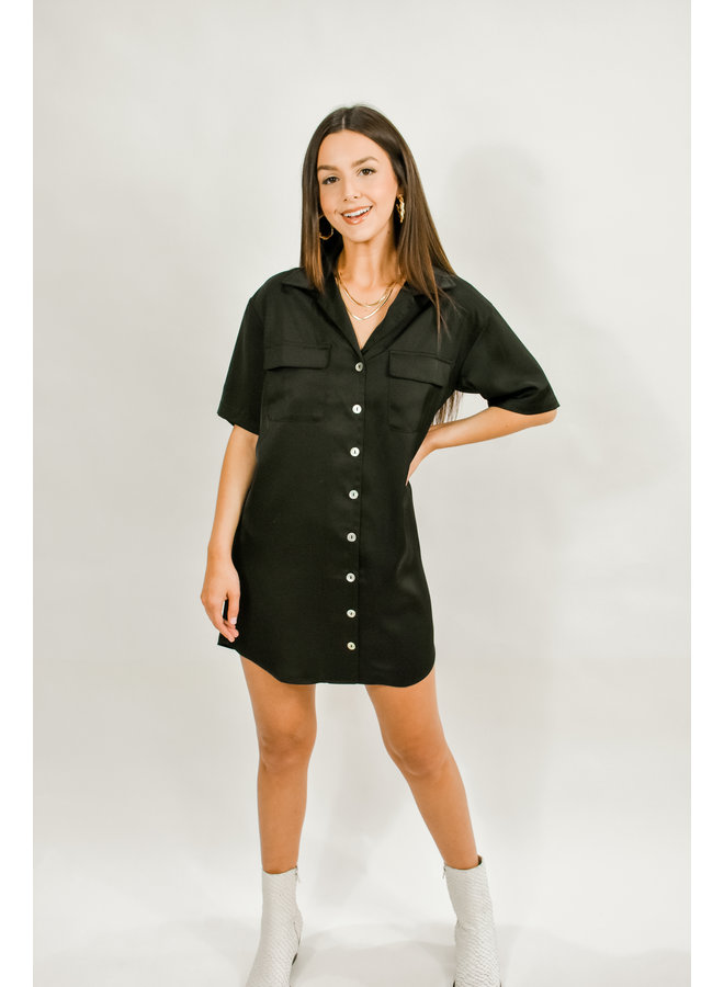 Moxy Satin Shirt Dress - Black