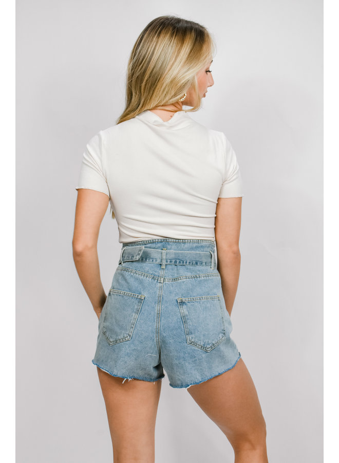 Blues Belted Shorts