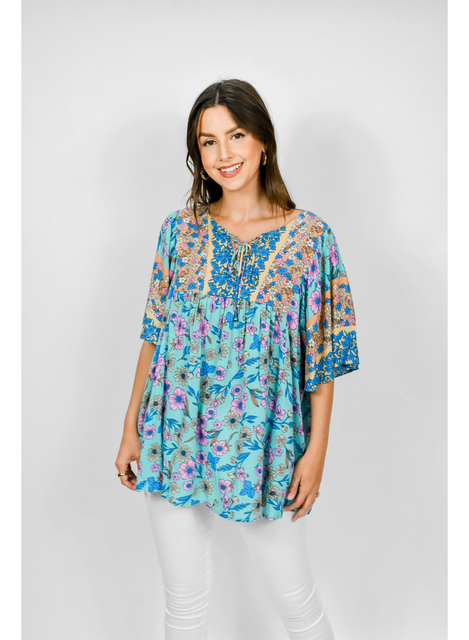 All Things Floral Blouse - Blue
