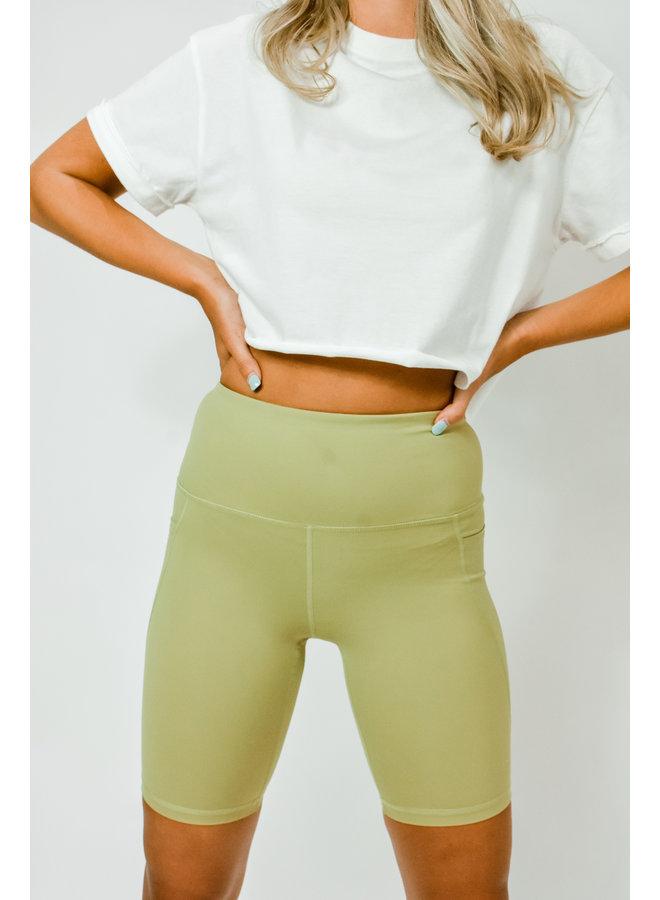 Track Star Biker Shorts - Lime