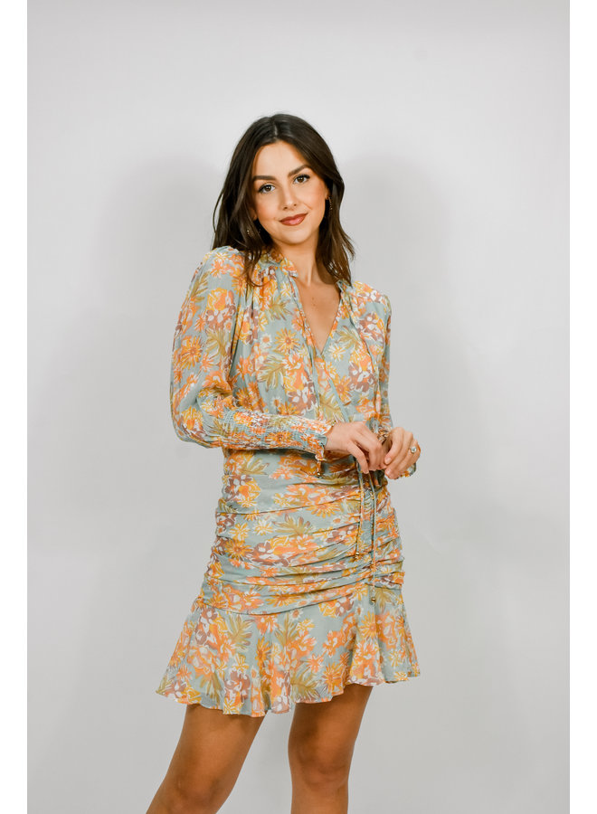 Summer Florals Ruched Dress
