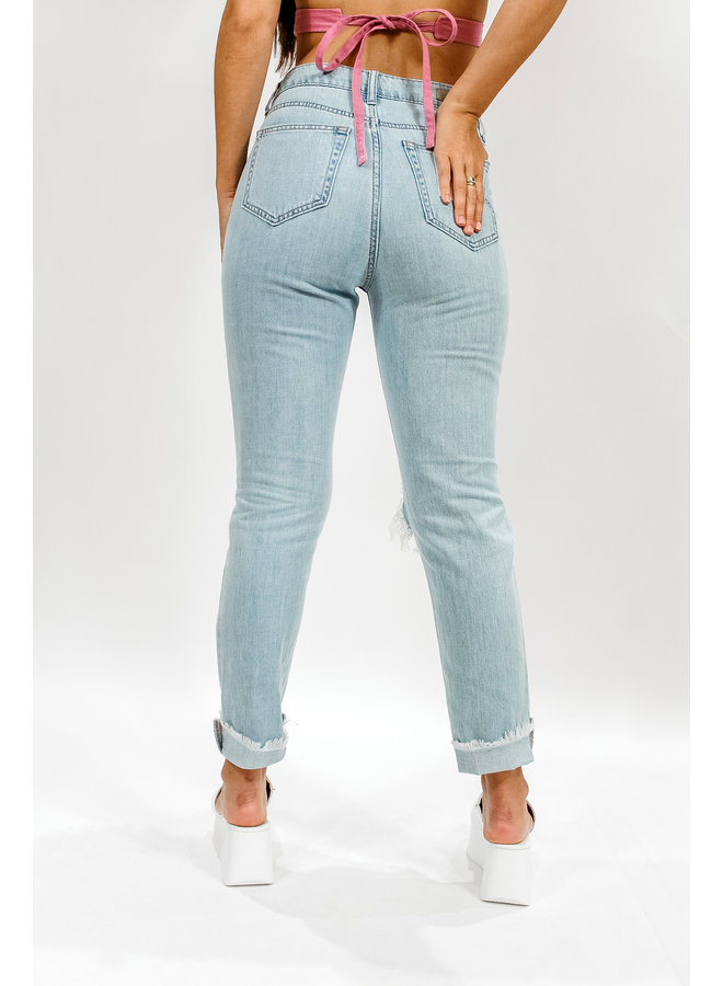 All Comes Out in the Wash Distressed Denim