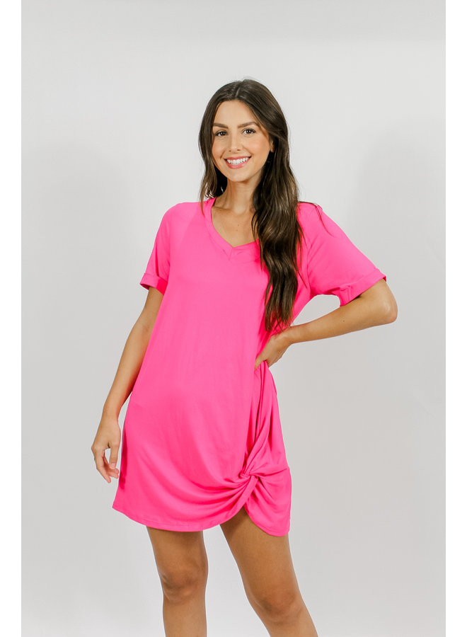 Off the Grid Tshirt Dress - Candy Pink