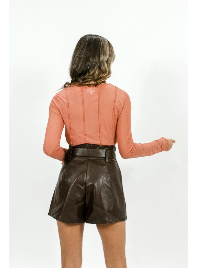 Saturdaze Sheer Top - Rust