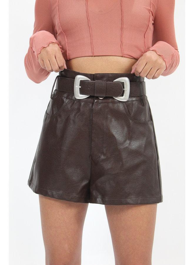 Baddie Belted Leather Shorts - Mocha