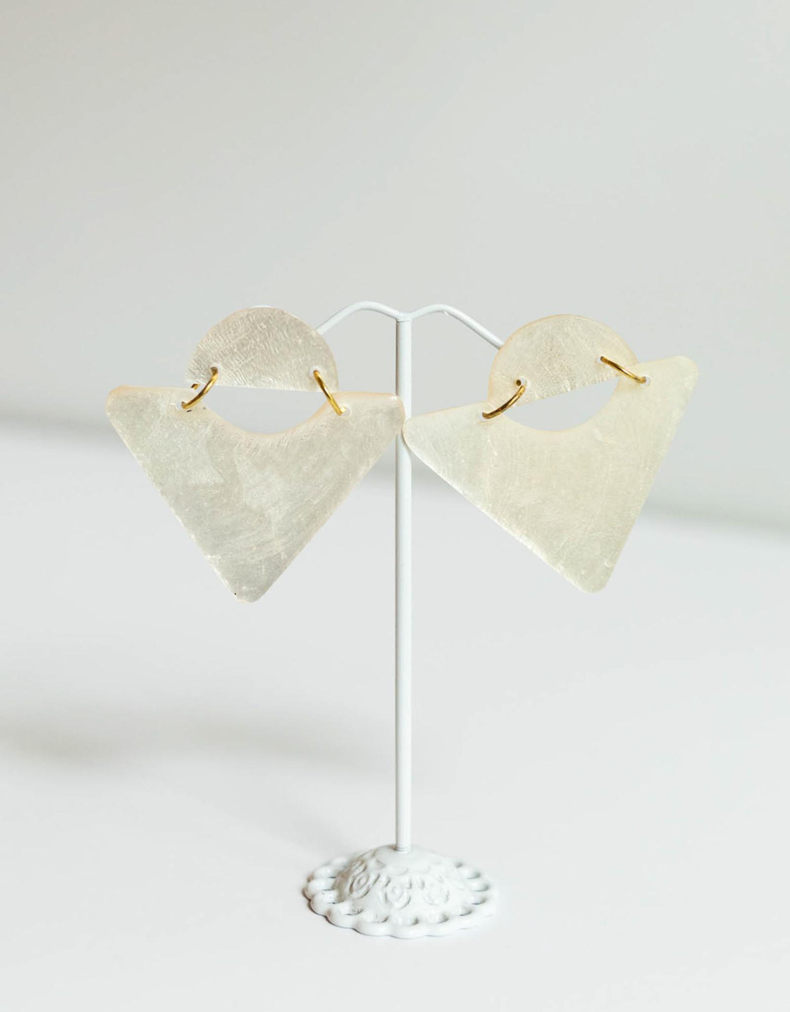 SYLCA White Triangle Shell Kira Ears