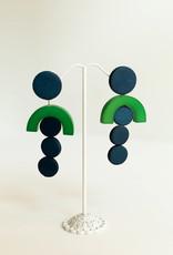 SYLCA Blue & Green Circle Drop Ears