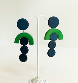 SYLCA Blue & Green Circle Drop Ears