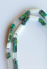 SYLCA Clear & Green Marble Bead Neck Ae17n30