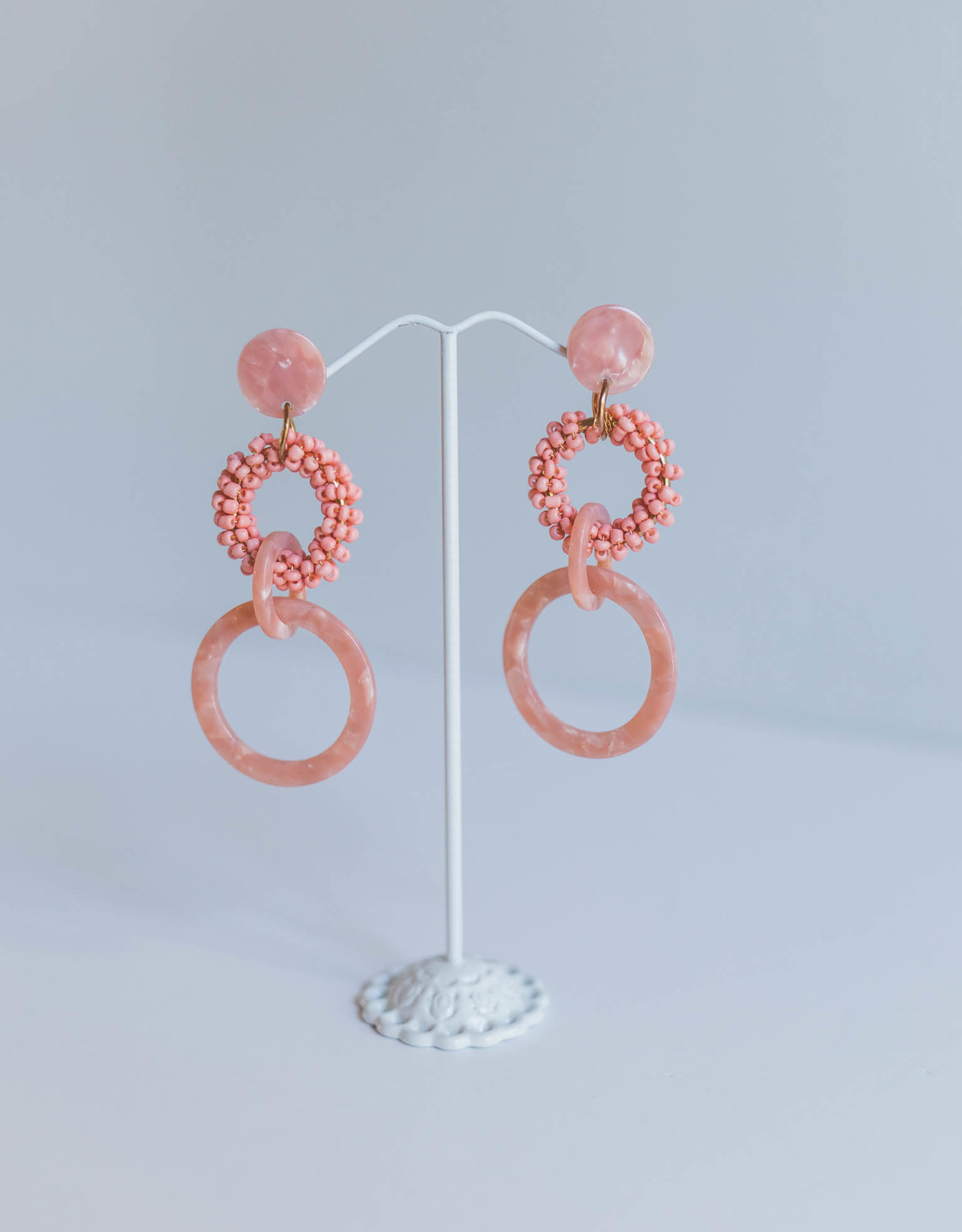 Golden Stella Salmon Beaded Circle Earrings