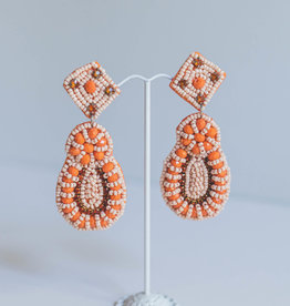 Golden Stella Coral Beaded Teardrops