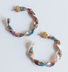Golden Stella Lg Pink Twist Hoops