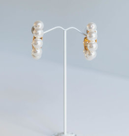 "Golden Stella 2"" Pearl Stud Hoops"