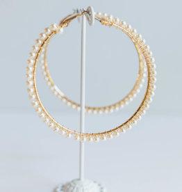 Golden Stella 70 mm Pearl Hoops