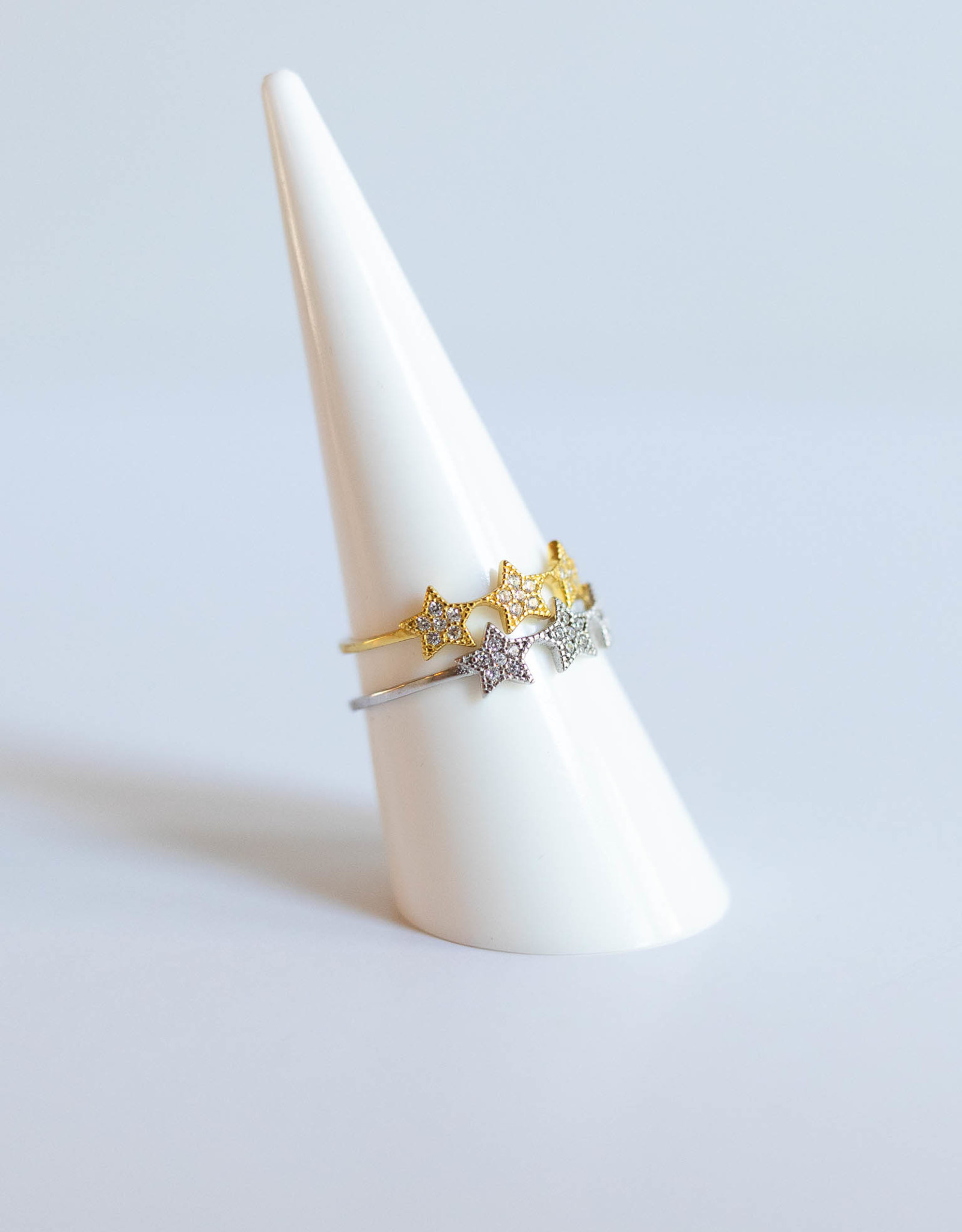 P and K Jewelry Silver Tri Star Ring