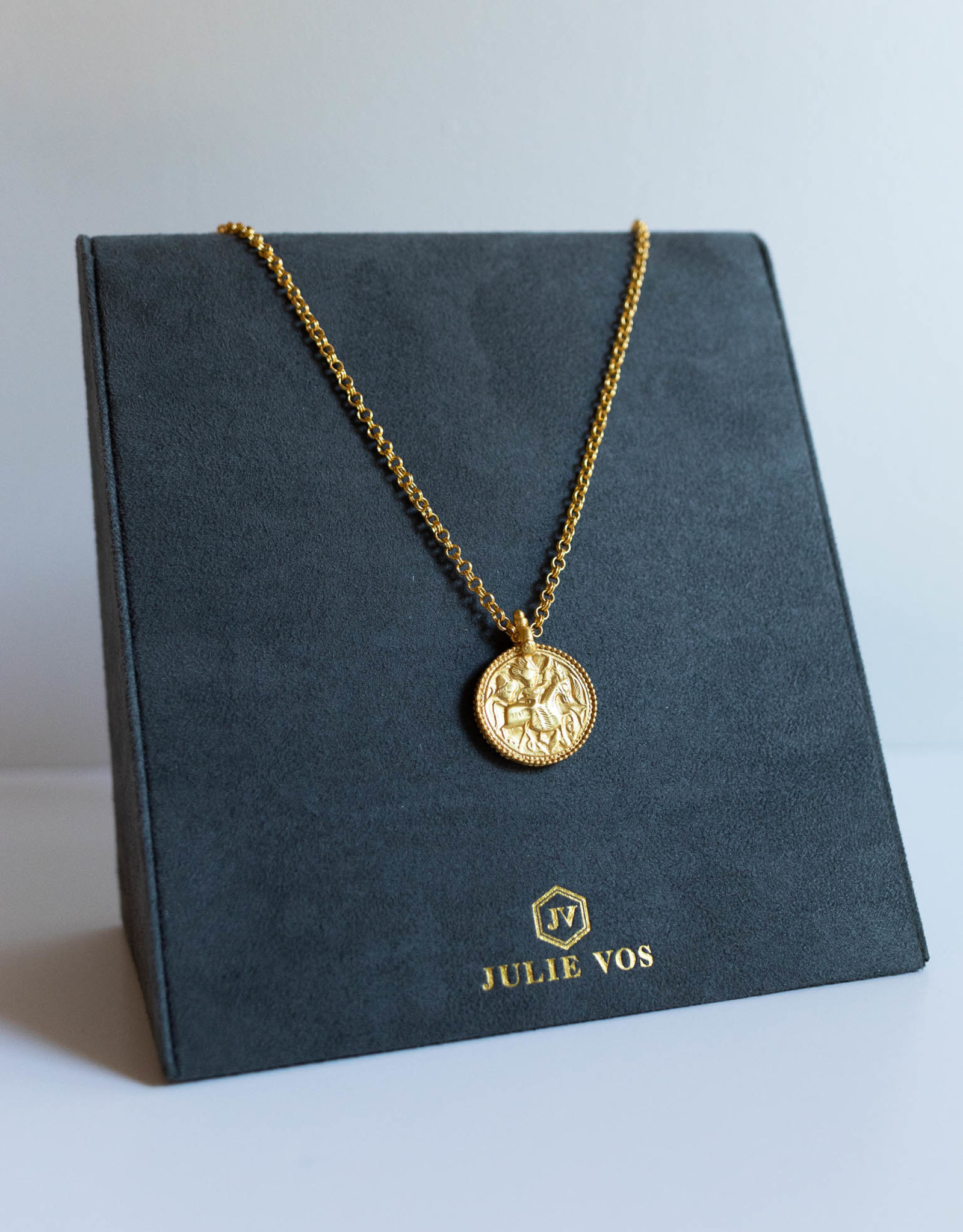 Julie Vos Coin Pendant Gold Long