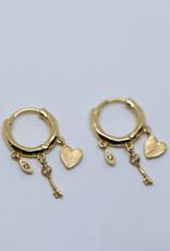 Gorjana Love Charm Huggies Gold