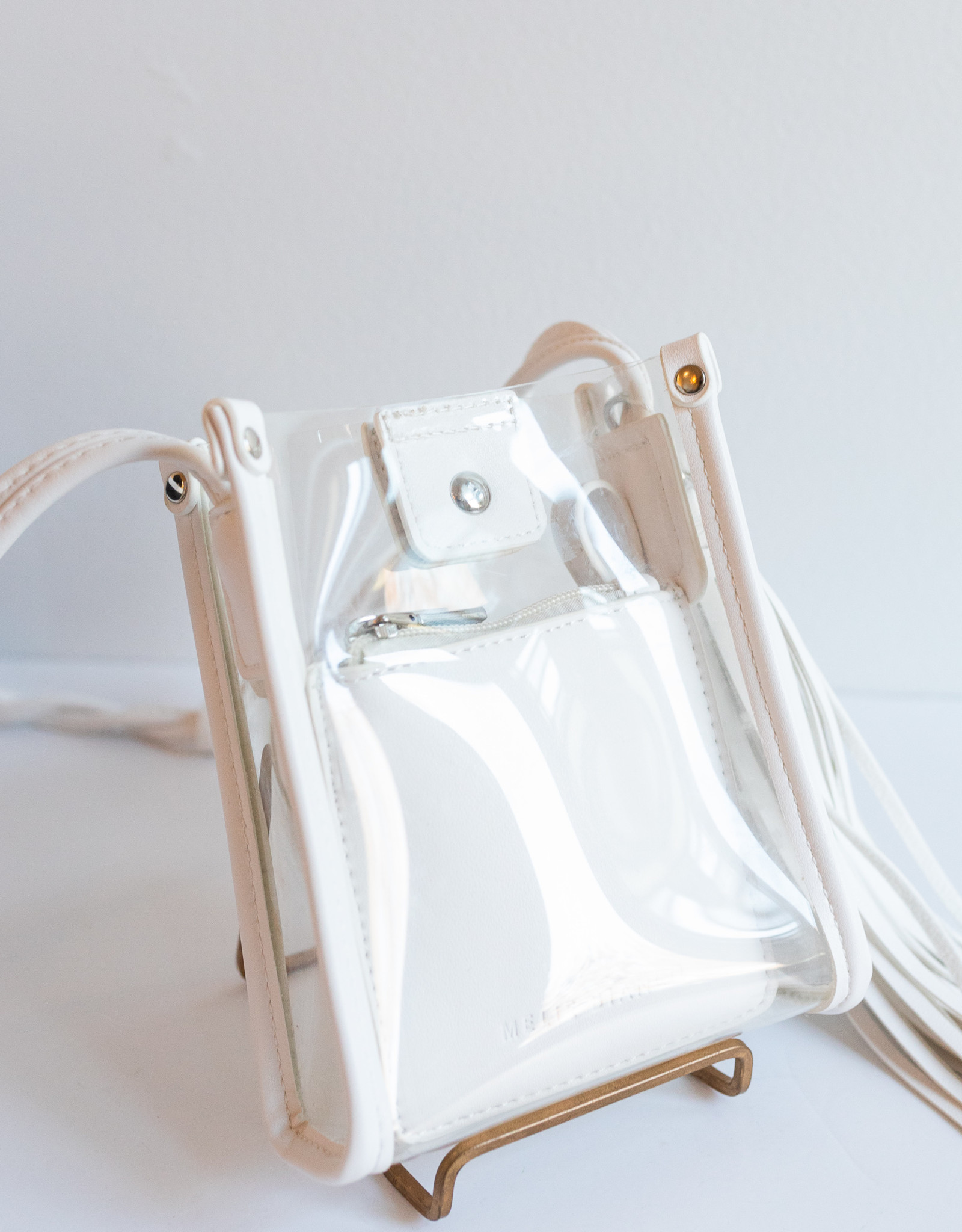 Melie Bianco Kristy White Sm Clear Crossbody
