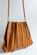 Melie Bianco Carrie Tan Pleated Shoulder Bag