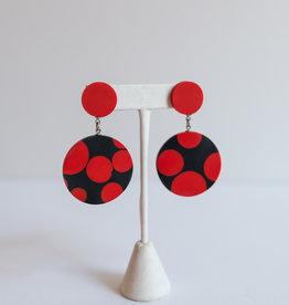 SYLCA Red & Black Dot Resin Ear