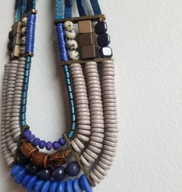 "22"" Blue 4 Strand Necklace"