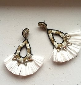 Golden Stella White Raffia Teardrops w/ Gold Beading