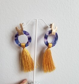 Golden Stella Small Circle & Tassel Marigold/Blue Resin Ears