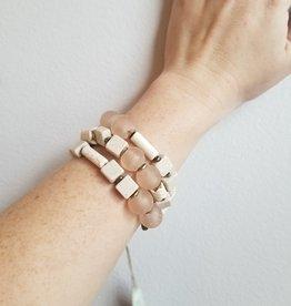 Magnet Clasp Pink Glass Bracelet