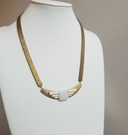 "19"" necklace hermatite/brass/amazonite"