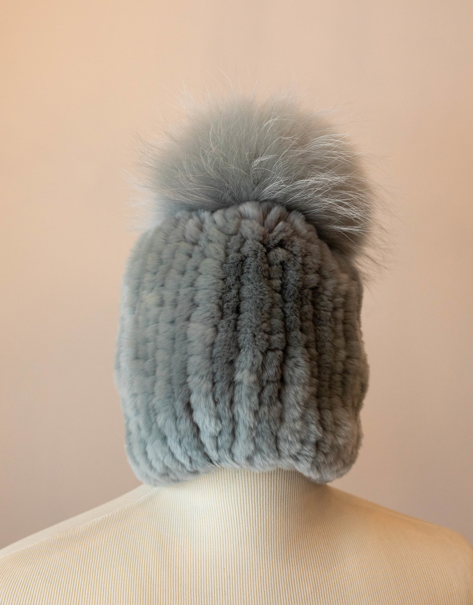 Linda Richards Dove Grey Fur Hat w/ Fox Pom