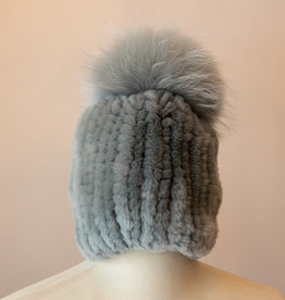 Linda Richards Dove Grey Fur Hat w/ Fox Pom