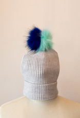 Ribbed Faux Fur Pom Hat