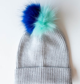 Ribbed Faux Fur Pom Hat