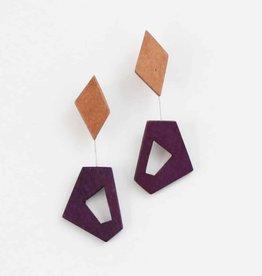 SYLCA Purple & Gold Geo Drop Earrings