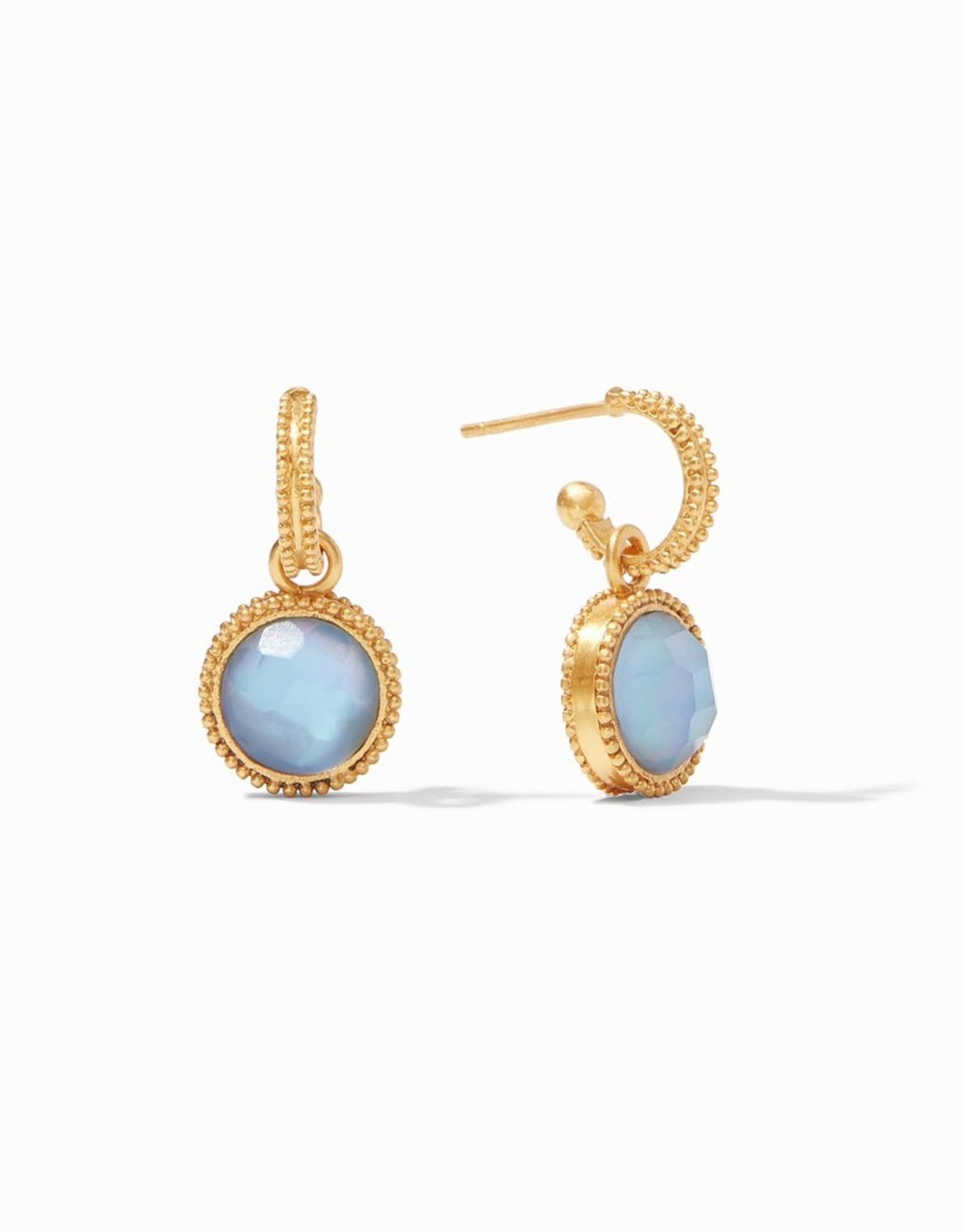 Julie Vos Fleur de Lis Hoop & Charm Chalcedony Blue
