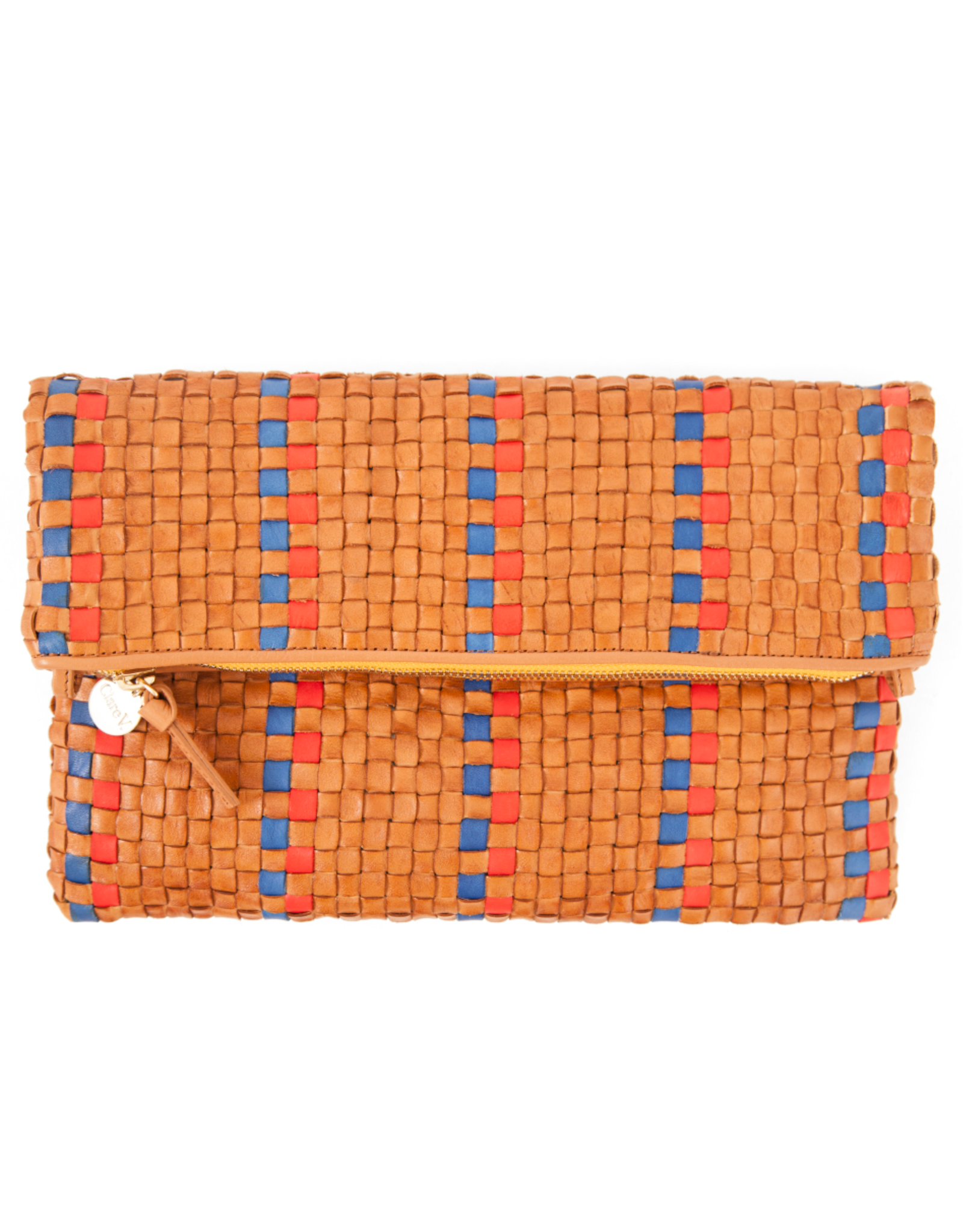 Clare V Foldover Clutch w/ Tabs Woven Natural w/ Navy & Poppy