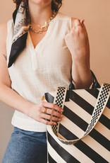 Clare V Annie Black & Cream Stripe w/Webbing Straps