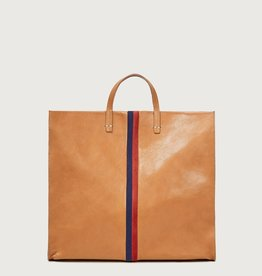 Clare V Simple Tote Natural Rustic w/Navy & Red Suede Stripes