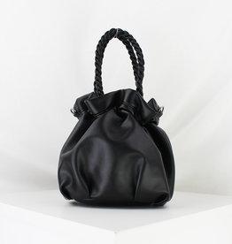 Mini Cinch Bag w/ Braided Handles Black