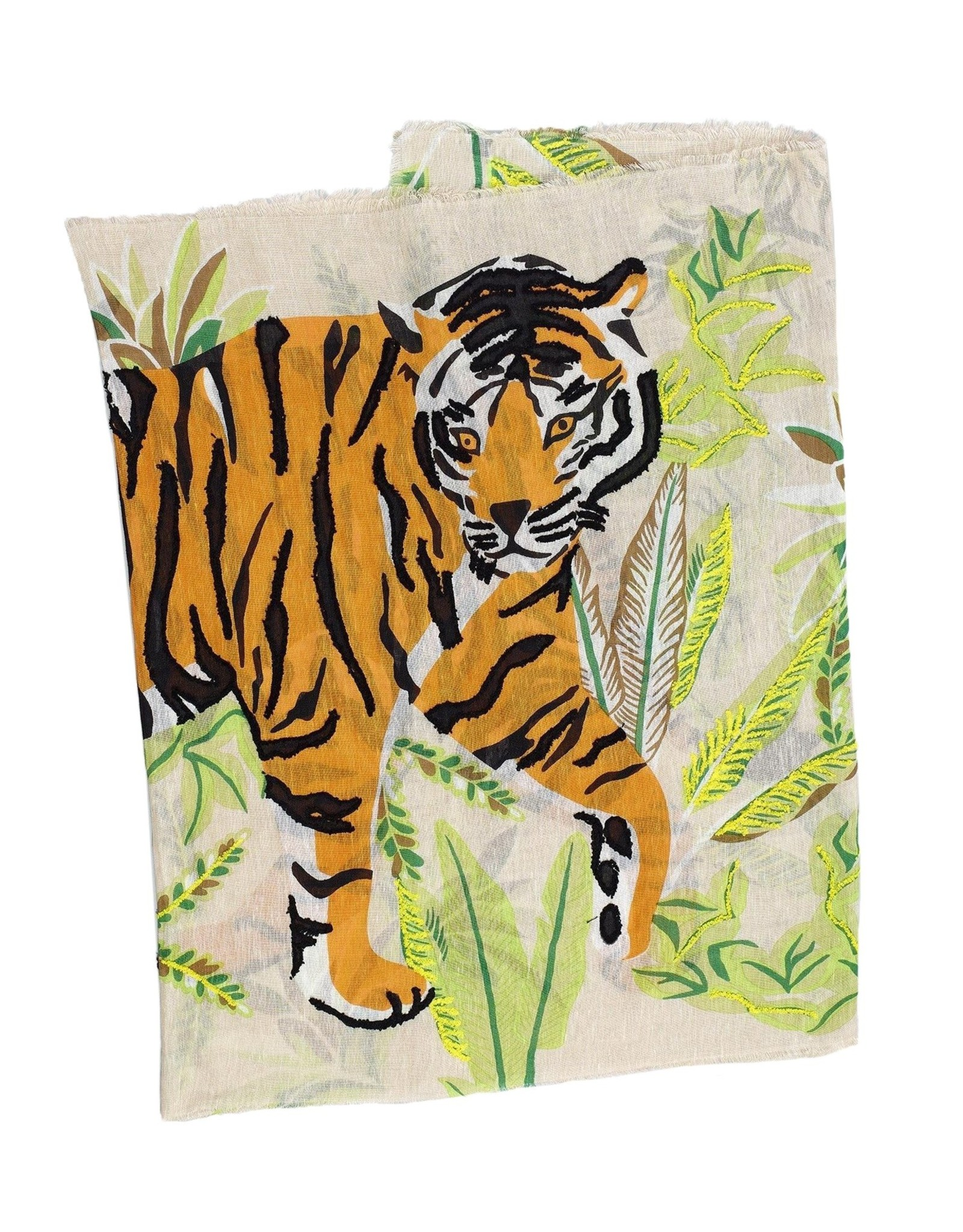 Tiger Embroidered Wrap