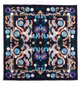 Black Multi Swirling Silk Square Scarf