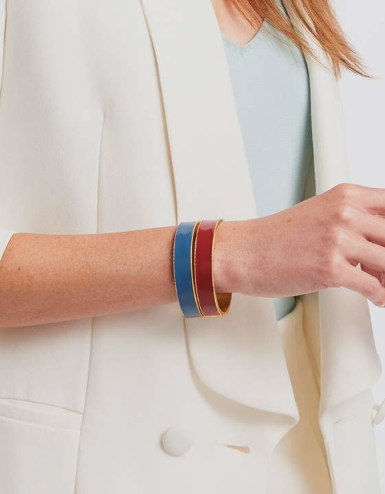 Julie Vos Marseille Hinge Bangle Blue Enamel