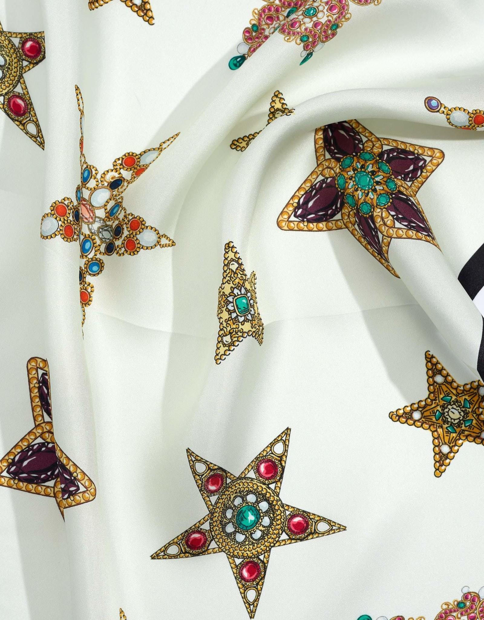 Bejeweled Brooch Silk Square Scarf