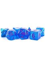 Metallic Dice Games 16mm Acrylic Stardust Poly Dice Set: Blue/Purple Numbers (7)