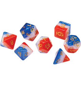 Sirius Dice RPG Dice Set (7): Red, White, and Blue Semi-Transparent Resin